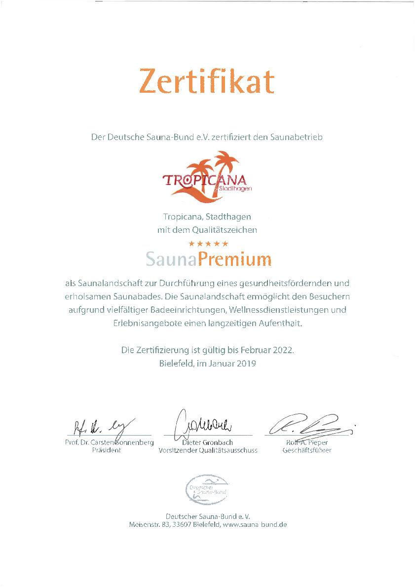 SaunaPremium zertifiziert mit 5 Sternen